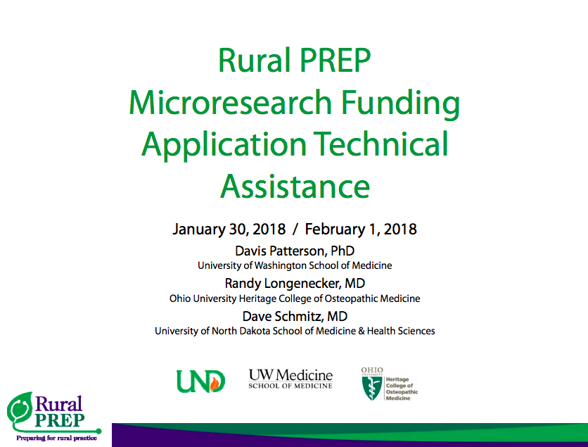 Rural PREP Microresearch Funding Application Technical Assistance - Webinar slides