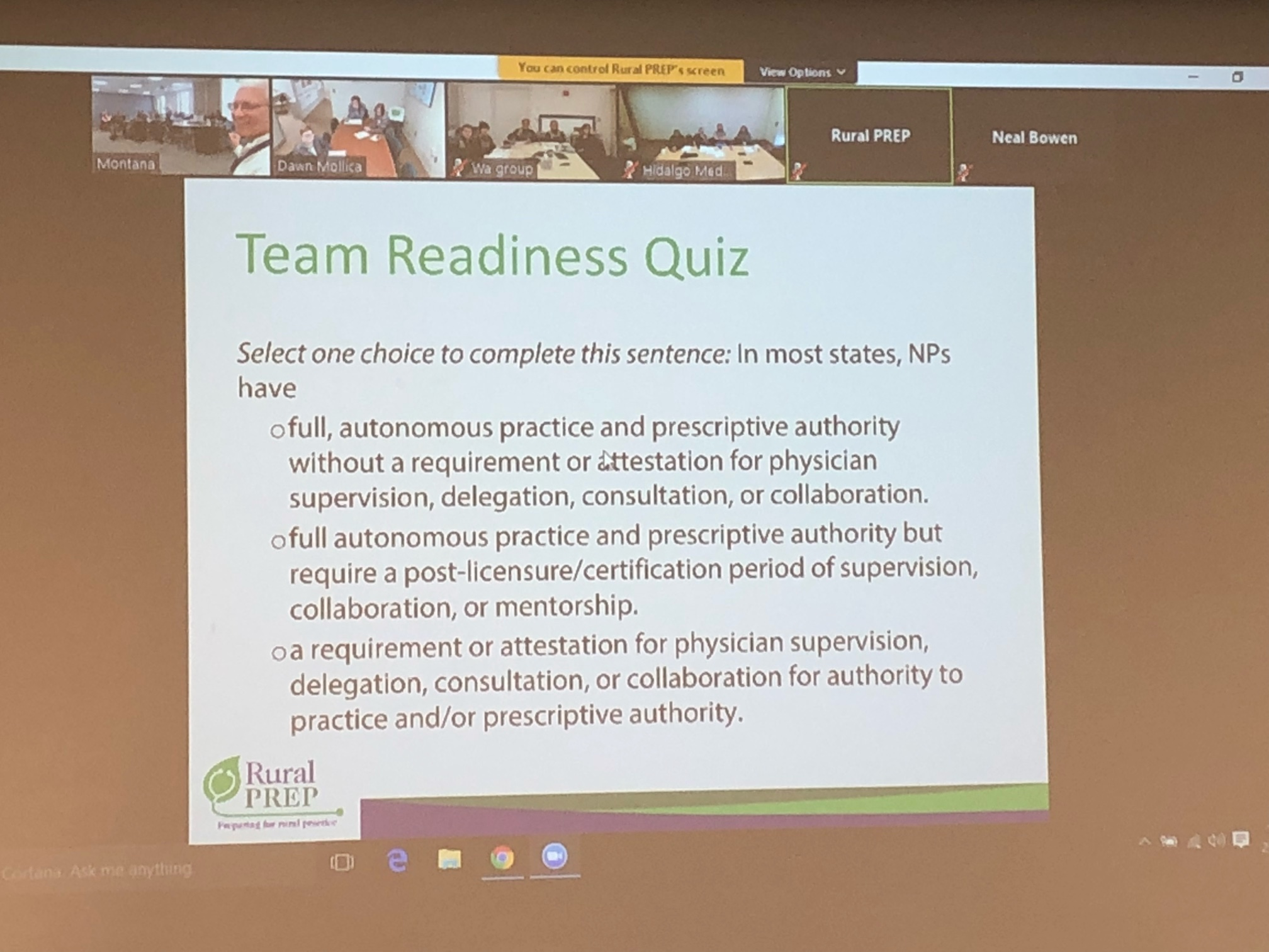 Slide of the Team Readiness quiz with multiple choice questions